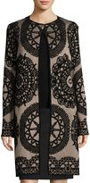 M Missoni Medallion Jacquard Long Jacket, Taupe