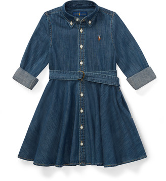 Ralph Lauren Belted Cotton Denim Shirtdress
