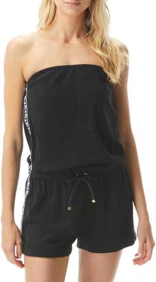 MICHAEL Michael Kors Logo Cotton-Blend Romper Coverup