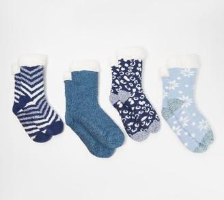 Cuddl Duds Sherpa Lined Cabin Socks Set of 4