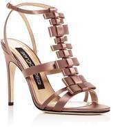 Sergio Rossi Women's Satin Bow T-Strap High Heel Sandals