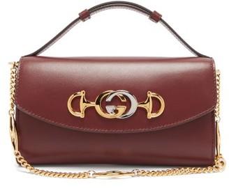 Gucci Zumi Mini Logo-plaque Leather Cross-body Bag - Womens - Burgundy