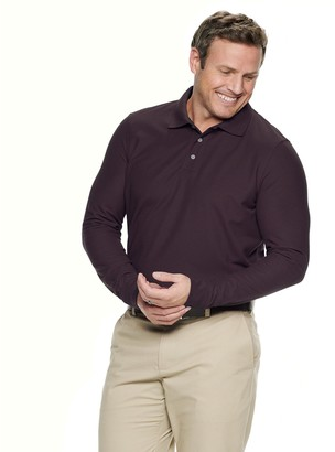Croft & Barrow Big & Tall Button-up Long Sleeve Easy Care Pique Polo Shirt