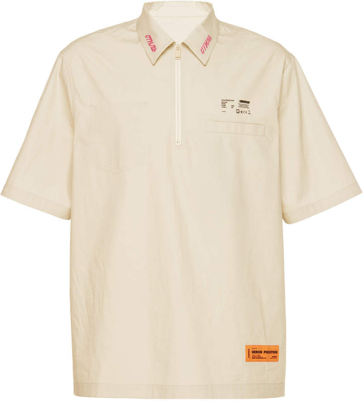 Heron Preston Zip Front Short-Sleeve Cotton Shirt