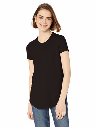 Daily Ritual Women's Cozy Knit Short-Sleeve Shirt with Shirttail Hem