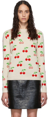 Gucci Beige Cherries Knit Sweater