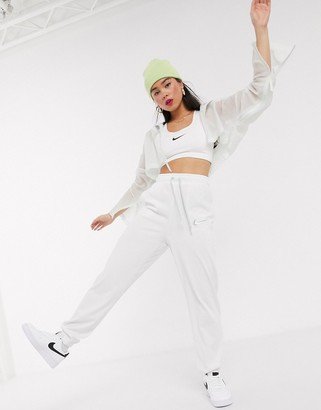 Nike Swoosh white Woven high waisted joggers
