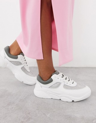 ASOS DESIGN Dollie embellished chunky sneakers in white and gray