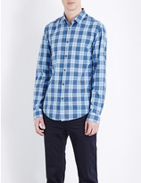 HUGO BOSS Modern-fit checked cotton-poplin shirt