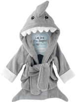 "Baby Aspen let the fin begin"" hooded shark robe"