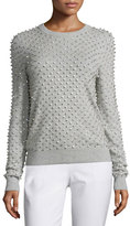 Michael Kors Rhinestone-Embellished Cashmere Sweater, Pearl/Gray