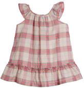 Burberry Taia Flutter-Sleeve Check Dress, Size 1-24 Months