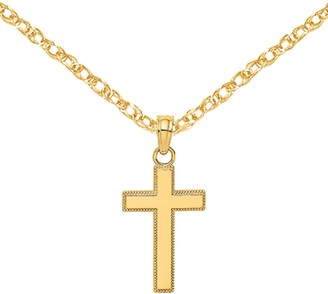 14K Yellow Gold Polished and Block Style Beaded Edge Cross Charm with 18-inch Cable Rope Chain by Versil