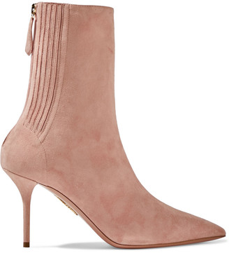 Aquazzura Saint Honore' 85 Suede Ankle Boots