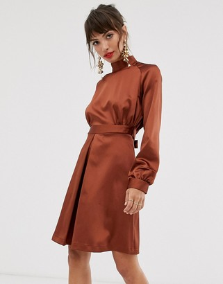 Closet London Closet high neck satin mini dress in brown