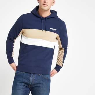 Wrangler Mens River Island Navy block hoodie