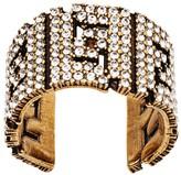 Fendi FF motif crystal embellished ring