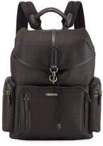 Ermenegildo Zegna Pelle Tessuta Leather Backpack
