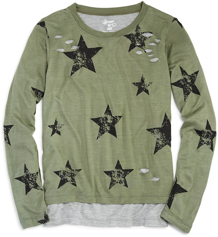 Flowers by Zoe Girls' Distressed Layered Star Print Tee