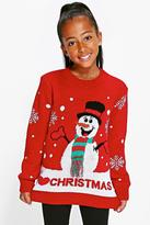 Boohoo Girls Snowman Scarf Jumper