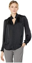 Vince Camuto Long Sleeve Smocked Neck/Cuff Button-Down Blouse (Rich Black) Women's Blouse