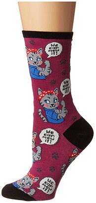 Socksmith We Can Mew It (Berry) Women's Crew Cut Socks Shoes