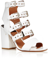 Laurence Dacade Kloe White Calf Leather Buckle Strap Sandals