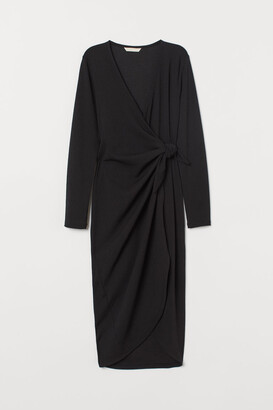 H&M V-neck Wrap Dress - Black