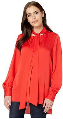 BCBGMAXAZRIA Neck Tie Top (Rosso) Women's Clothing