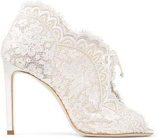 Jimmy Choo KAIANA 100 Ivory lace embroidered heels