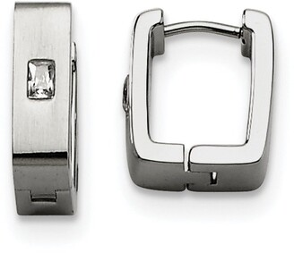 Chisel Stainless Steel Cubic Zirconia Brushed and Polished Square Hinged Earrings