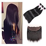 8a Malaysian Straight Hair 3 Bundles with Frontal (13X4 ) Ear to Ear Lace Frontal Closure with Bundles Malaysian Frontal Lace Closure with Baby Hair Shedding&Tangle Free Natural Color 20 22 22 + 16
