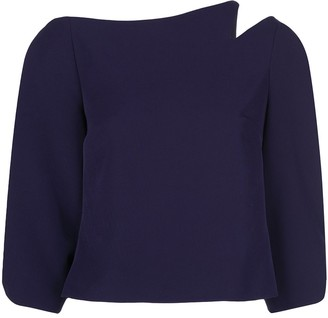 Christian Siriano cropped notched shoulder top