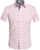 HOTOUCH Men Short Sleeve Button Up Slim Fitted Dress Shirts Pink L