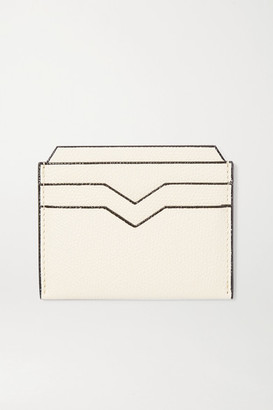 Valextra Textured-leather Cardholder - White