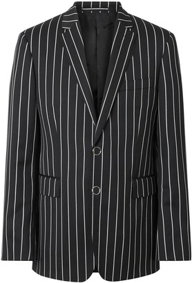 Burberry Slim Fit Pinstriped Tailored Jacket