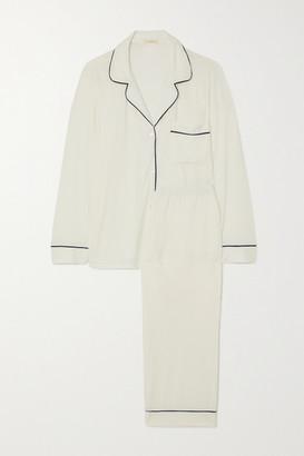 Eberjey Gisele Piped Stretch-modal Pajama Set - Ivory