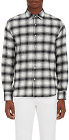 Barneys New York Men's Plaid Brushed Cotton Flannel Shirt-WHITE