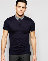 French Connection Plain Polo Contrast Ditsy Collar Polo Shirt