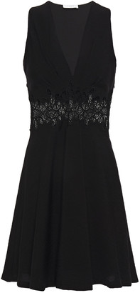 Sandro Elena Flared Guipure Lace-paneled Crinkled-crepe Mini Dress