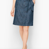 Talbots Embroidered Daisy A-Line Skirt- Chambray Blue