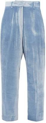 Sies Marjan Willa Silk Blend Velvet Corduroy Trousers - Womens - Light Blue