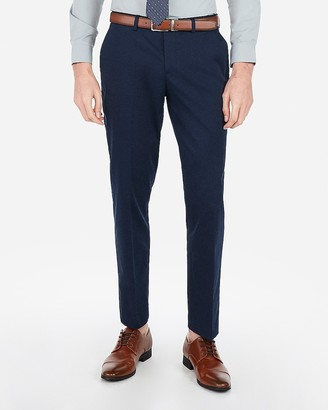 Express Slim Navy Cotton Blend Performance Stretch Suit Pant