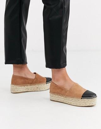 Steve Madden leather flatform espadrille in tan