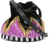 Les Petits Joueurs mini 'Daleah' fringed bucket bag - women - Cotton/glass/Leather - One Size