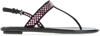 Prada Jewel Embellished T-Bar Sandals