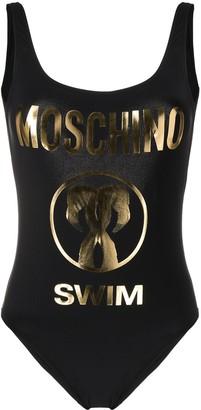 Moschino Low-Back Logo Print Swimsuit