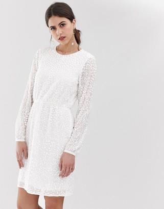 Y.A.S beaded open back mini dress in white