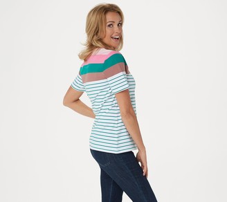 Denim & Co. Active Striped Perfect Jersey Top