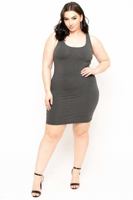 Curvy Sense Essential Tank Bodycon Dress in Charcoal Size 1X